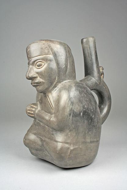 Seated Figure Bottle, Ceramic, Chimú