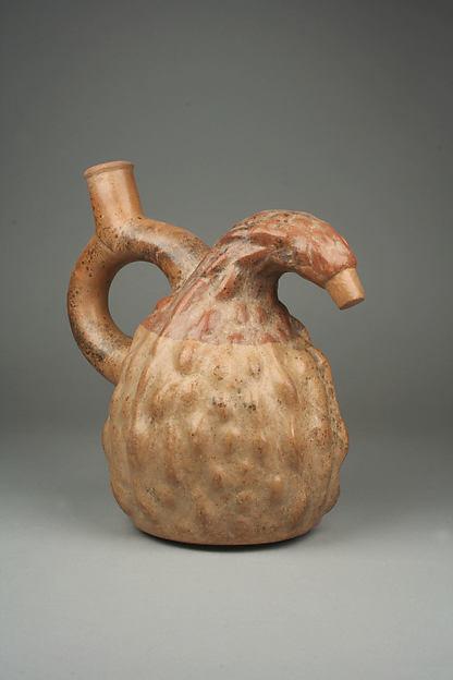 Squash Bottle, Ceramic, Moche