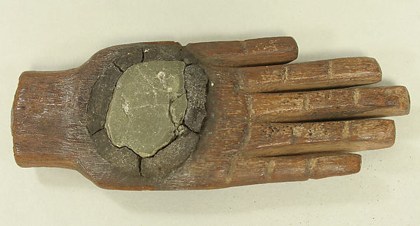 Hand with Mirror, Wood, pyrite, Wari