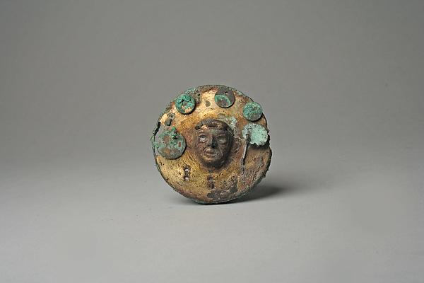 Earflare Frontal, Gilded copper, Moche (Loma Negra)