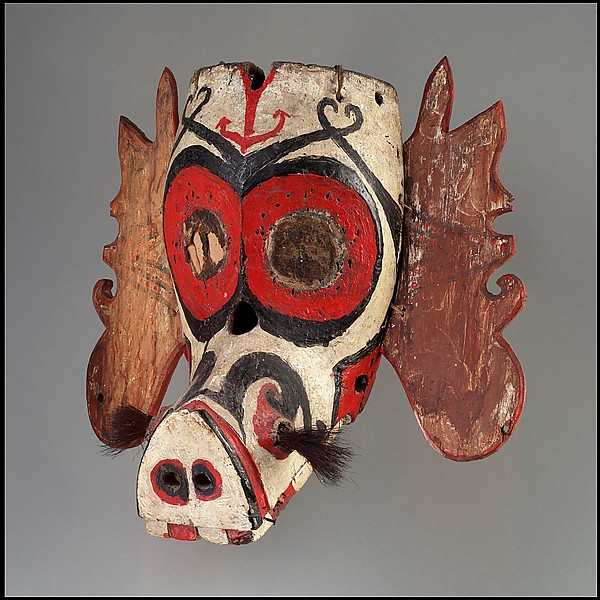 Mask (Hudoq), Wood, paint, hair, fiber, Kenyah or Kayan peoples