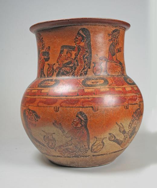 Jar, Ritual Scenes, Ceramic, slip, pigment, Maya