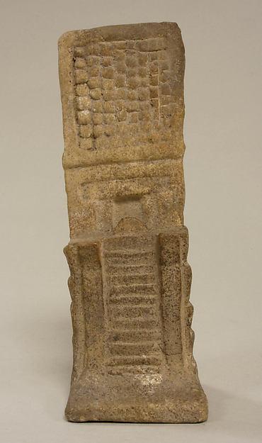 Temple Model, Ceramic, pigment, Aztec