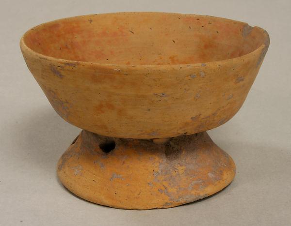 Miniature Pedestal Bowl, Ceramic, slip, Aztec