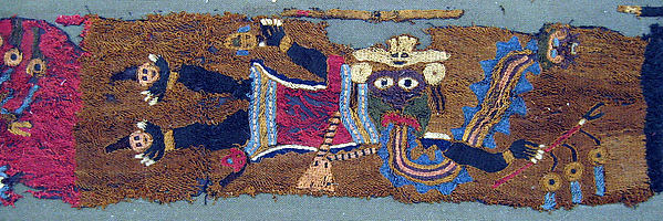 Embroidered Fragment with Figures, Camelid hair, cotton, Paracas
