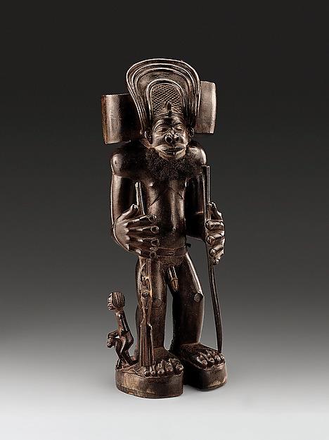 Commemorative figure of a chief as Cibinda Ilunga, Wood, human hair, Chokwe peoples