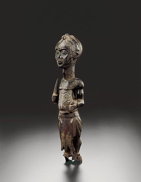 Figure of a leopard chief, Wood (Vitex madiensis), pigments, metal, plastic, Luluwa peoples, Bakwa Ndolo
