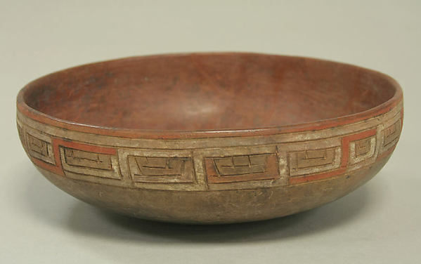 Incised bowl with eye motif, Ceramic, pigment, Paracas
