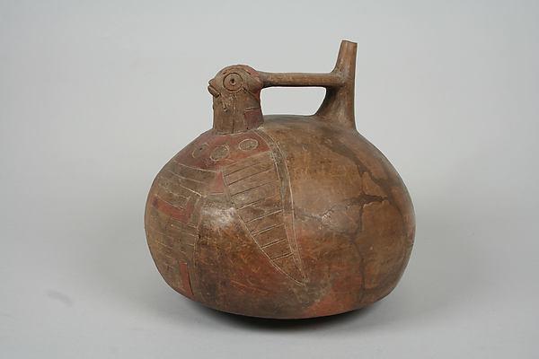 Bottle, Falcon, Ceramic, pigment, Paracas
