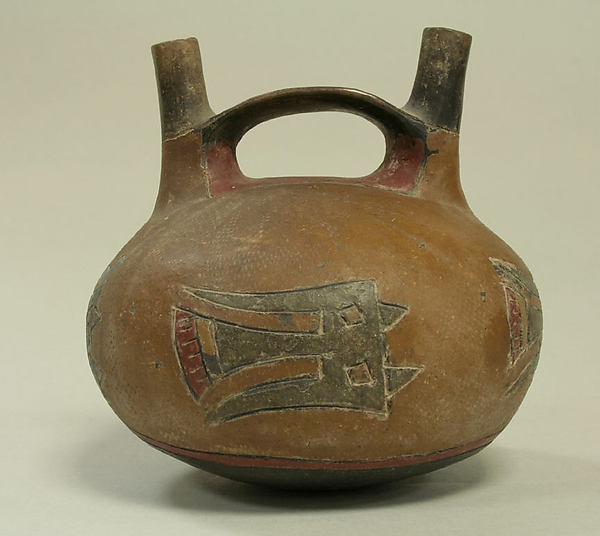 Double spout and bridge bottle with birds, Ceramic, pigment, Paracas