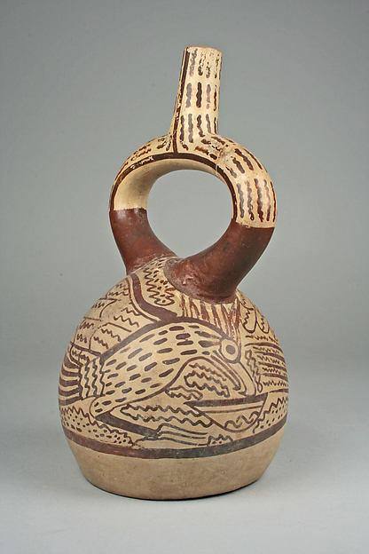 Stirrup spout bottle with hawk, Ceramic, pigment, Moche