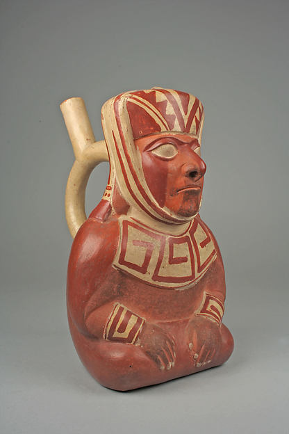 Stirrup spout bottle with dignitary figure, Ceramic, slip, Moche