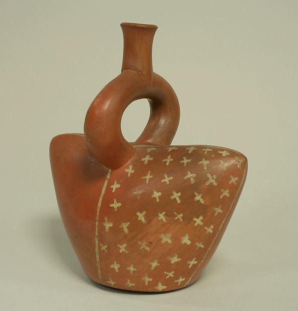 Stirrup spout bottle in cap shape, Ceramic, Moche or Salinar (?)