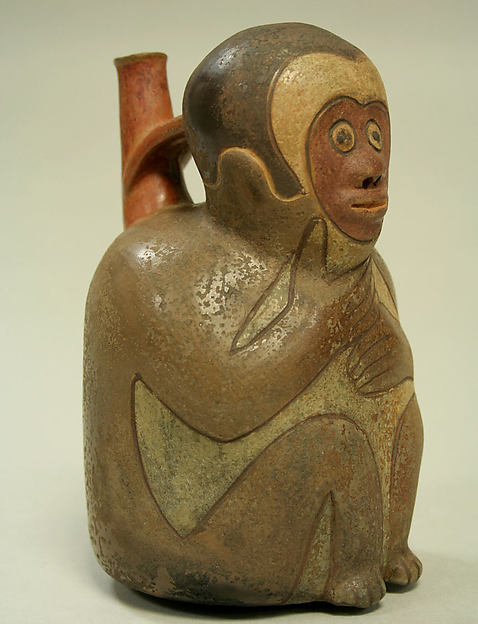 Monkey Bottle, Ceramic, Nasca