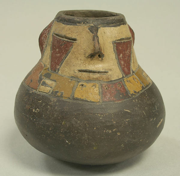 Miniature Effigy Vessel, Ceramic, post-fired paint, Paracas