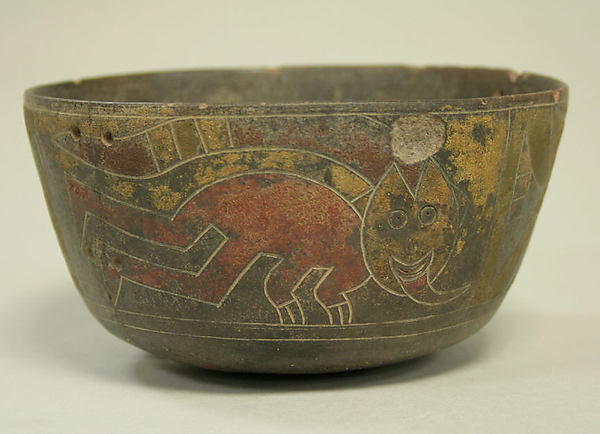Bowl Incised with Trophy Head Figures, Ceramic, pigment, Paracas