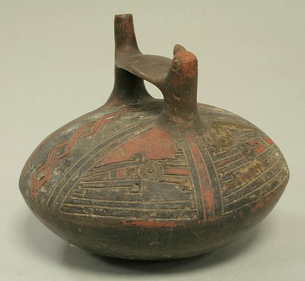 Double Spout and Bridge Bottle with Bird, Ceramic, pigment, Paracas