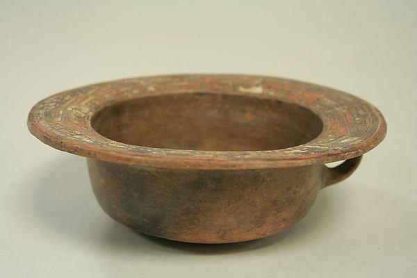 Bowl with Flat Rim, Ceramic, pigment, Paracas