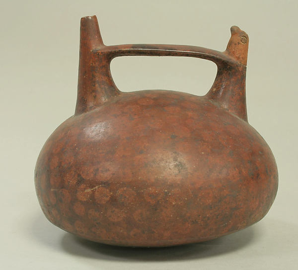 Double Spout and Bridge Bottle with Bird, Ceramic, pigment, Paracas