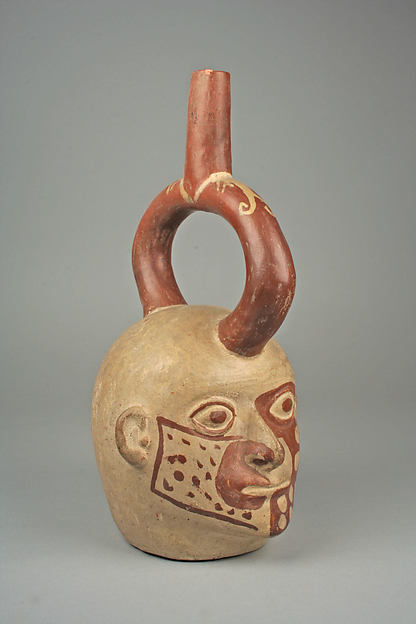 Stirrup Spout Bottle with Tattoed Head, Ceramic, slip, pigment, Moche
