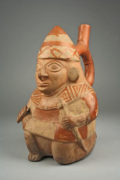 Stirrup Spout Bottle with Kneeling Warrior, Ceramic, slip, Moche