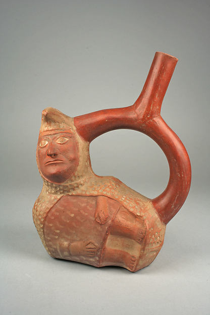 Stirrup Spout Bottle with Peanut Figure, Ceramic, slip, Moche