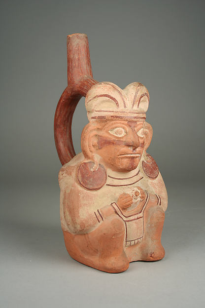 Stirrup Spout Bottle with Seated Figure, Ceramic, slip, Moche