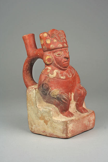Stirrup Spout Bottle with Figure on Throne, Ceramic, slip, Moche
