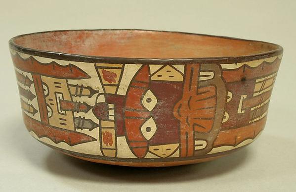 Bowl, Warrior Deity, Ceramic, pigment, Nasca