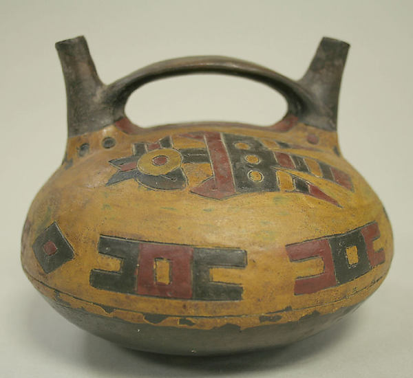 Double Spout and Bridge Bottle, Ceramic, pigment, Paracas