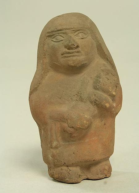 Standing Ceramic Figure with Child, Ceramic, Moche