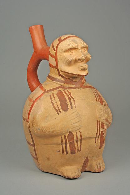 Stirrup Spout Bottle with Figure, Ceramic, slip, pigment, Moche
