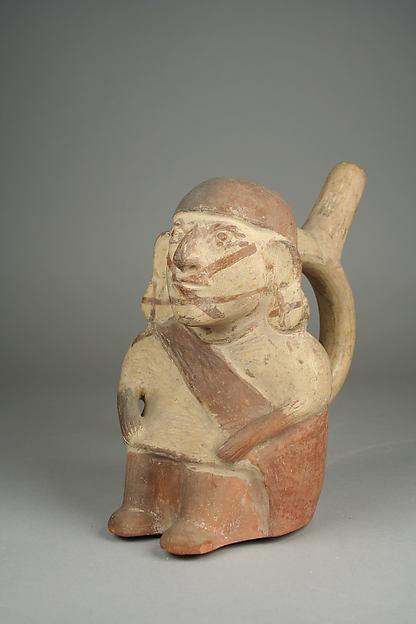 Stirrup Spout Bottle with Seated Figure, Ceramic, slip, pigment, Moche