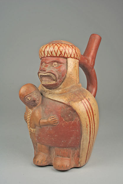Stirrup Spout Bottle with Figures, Ceramic, slip, pigment, Moche
