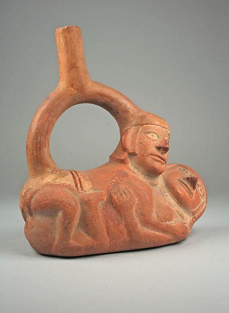 Stirrup Spout Bottle with Couple, Ceramic, slip, pigment, Moche