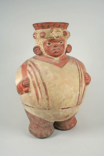 Jar, Fat Figure, Ceramic, pigment, Moche