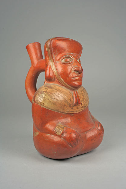 Bottle, Seated Figure, Ceramic, pigment, Moche
