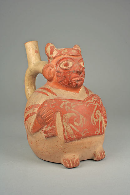 Bottle, Figure Showing Tunic, Ceramic, pigment, Moche