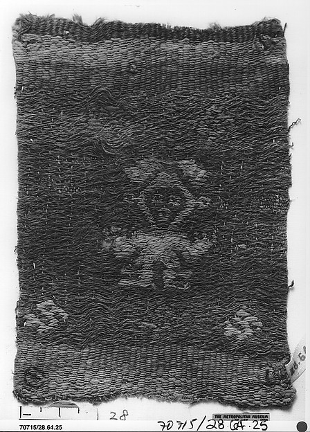 Brocade Fragment with Plumed Figure, Camelid hair, cotton, Chimú