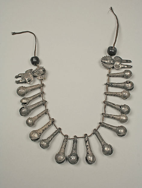 Necklace with bells and two figures, Silver, Peruvian