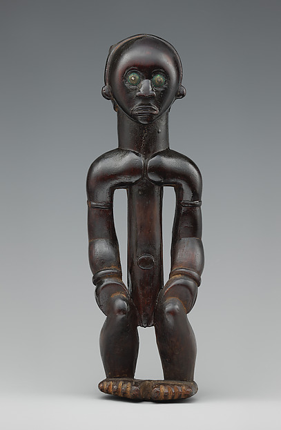 Reliquary Figure (Nlo Bieri), Wood, brass, tacks, Fang peoples