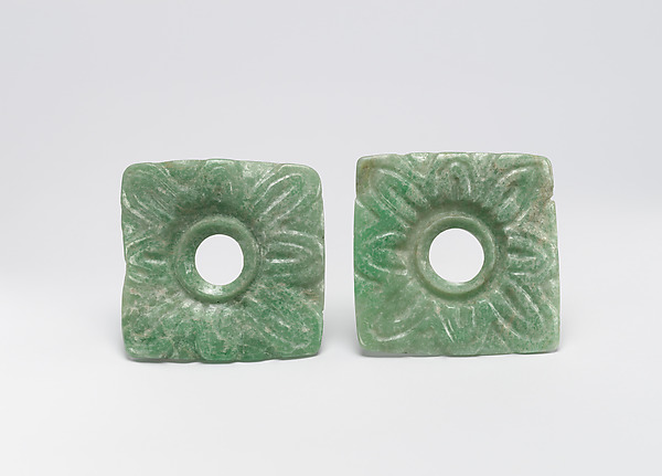 Pair of Earflare Frontals, Jade (jadeite), Maya