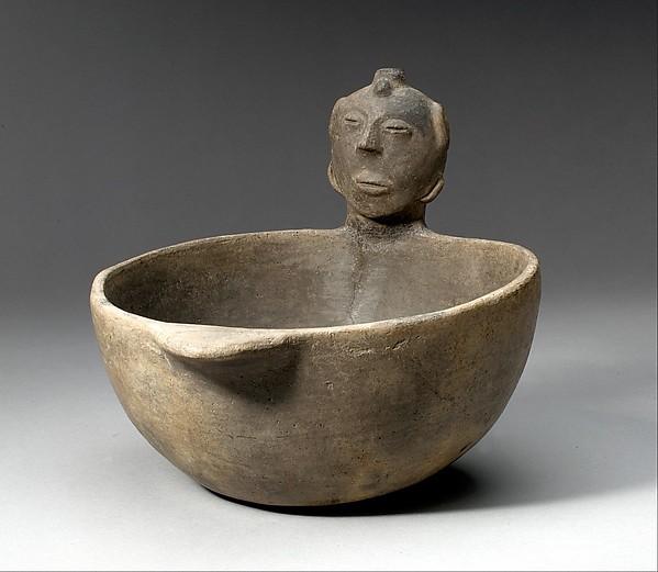 Bowl, Head on Rim, Ceramic, Mississippian
