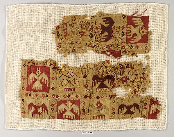 Fragment, Camelid hair, cotton, Chimú