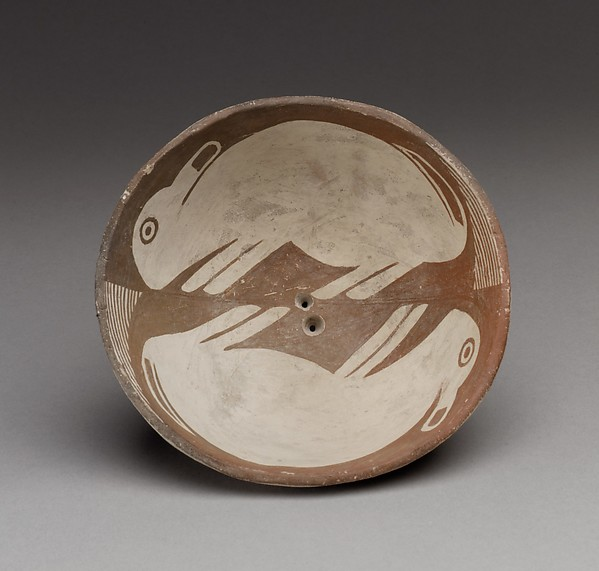 Bowl with Two Rabbits, Ceramic, Mimbres