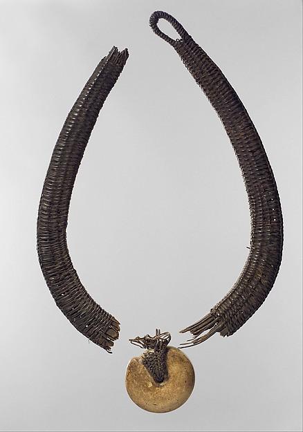 Necklace: Pendant, Wood, ceramic, raffia, Chokwe peoples