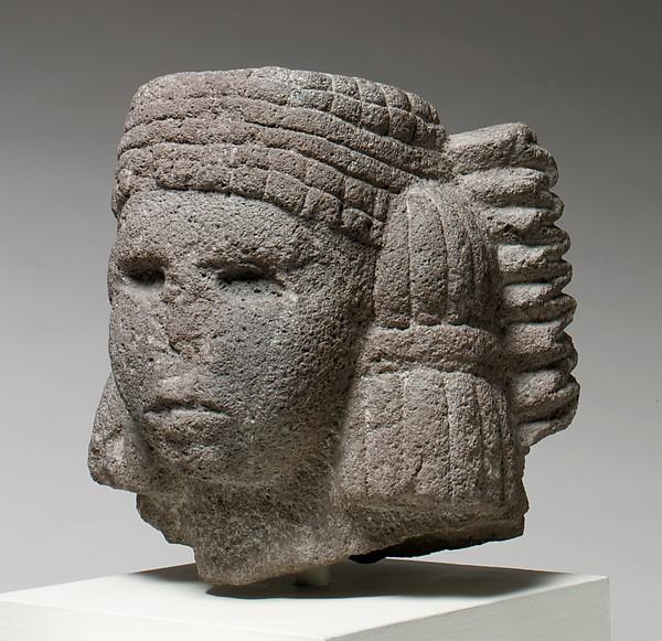 Head of a Water Deity (Chalchiuhtlicue), Basalt, Aztec