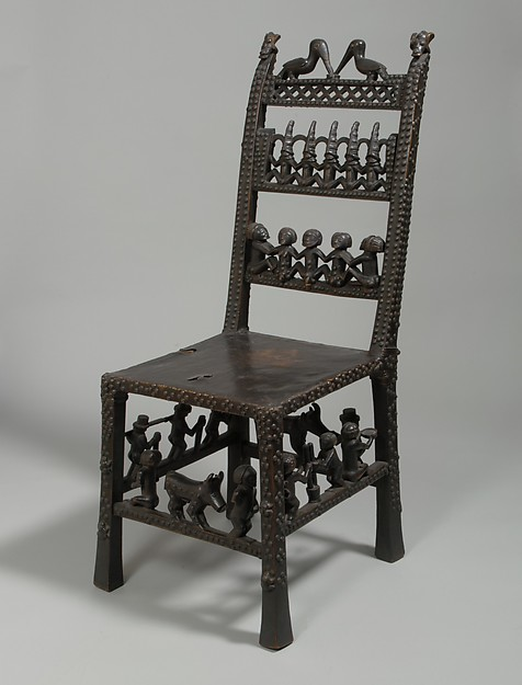 Chair: Rungs with Figurative Scenes (Ngundja), Wood, brass tacks, leather, Chokwe peoples