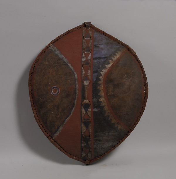 Shield, Leather, wood, pigment, fur, Maasai peoples