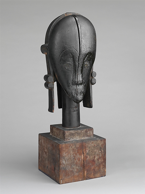 Sculptural Element from a Reliquary Ensemble: Head (The Great Bieri), Wood, metal, palm oil, Fang peoples, Betsi group